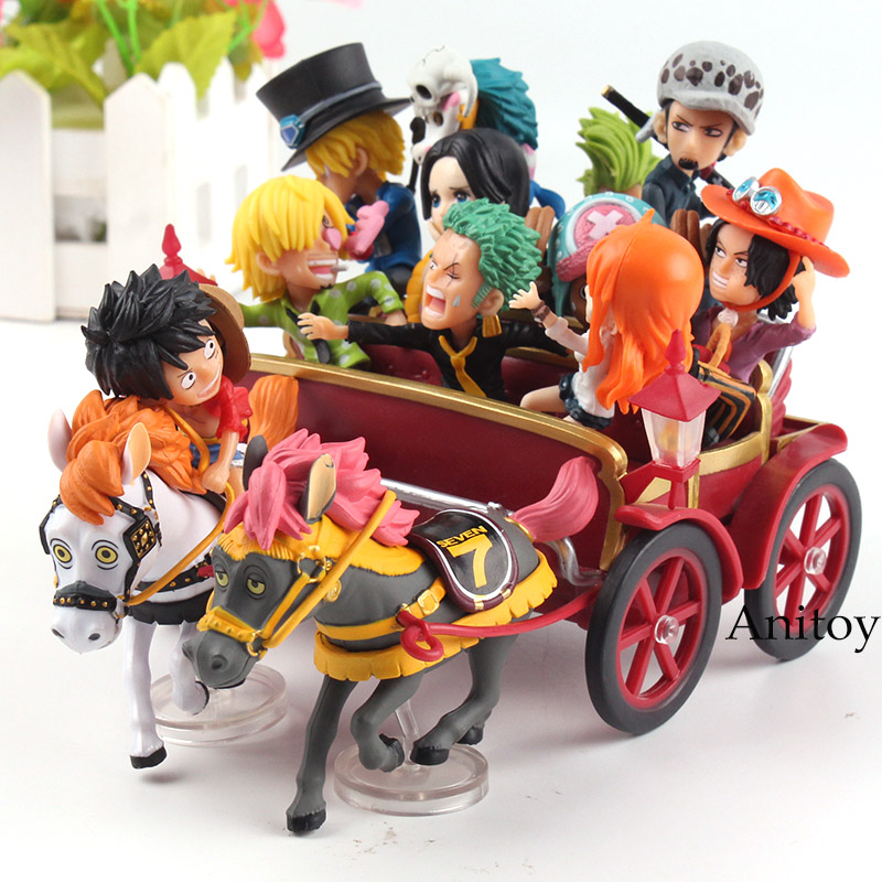 Anime One Piece 20th Anniversary Carriage Set Luffy Nami Zoro Sanji Chopper Ace Sabo Trafalgar Law Hancock PVC Figure Toys one piece model fighting edition monkey d luffy sanji ace trafalgar law dracula mihawk
