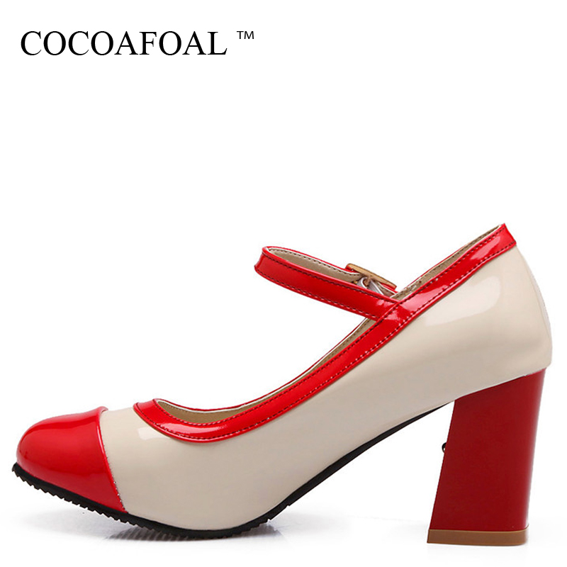 COCOAFOAL Woman Mary Janes Plus Size 33 - 43 Sexy High Heels Shoes Pink Apricot Black Patent Leather Red Wedding Pumps 2018 lovexss woman wedding mary janes black red genuine leather woman high heel shoes party patent leather pumps mary janes 2017