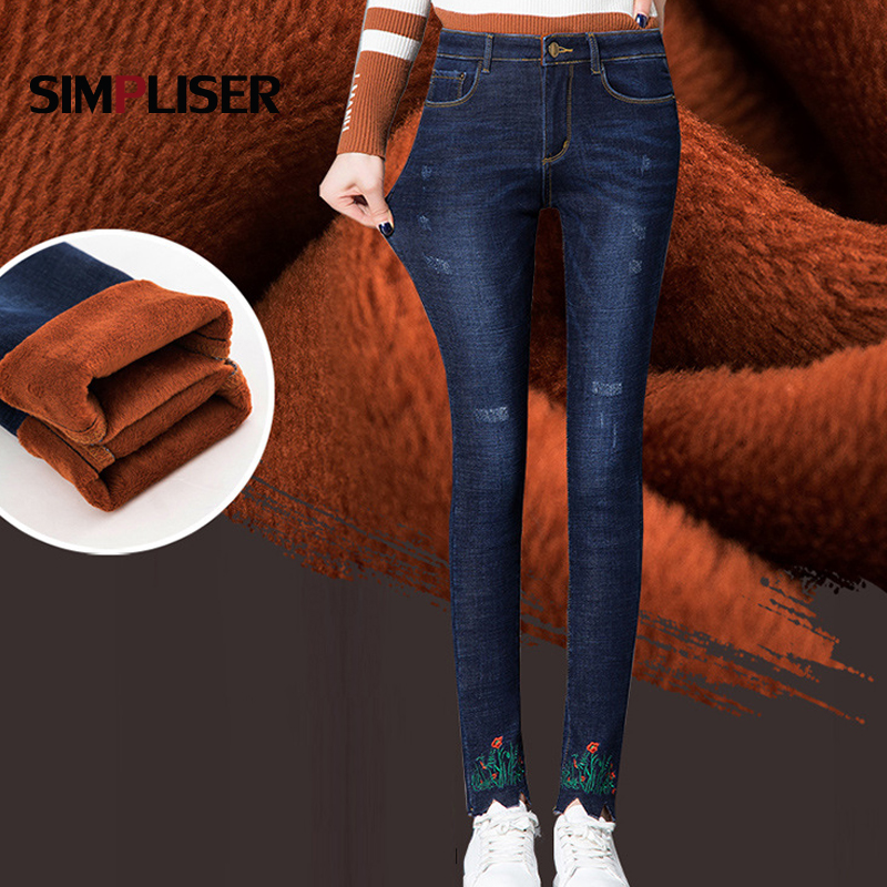 Embroidered   Jeans   Women With Fleece Warm   Jeans   Trousers Winter Female Skinny Stretch Leggings Push Up Mom   Jeans   Plus Size   Jeans