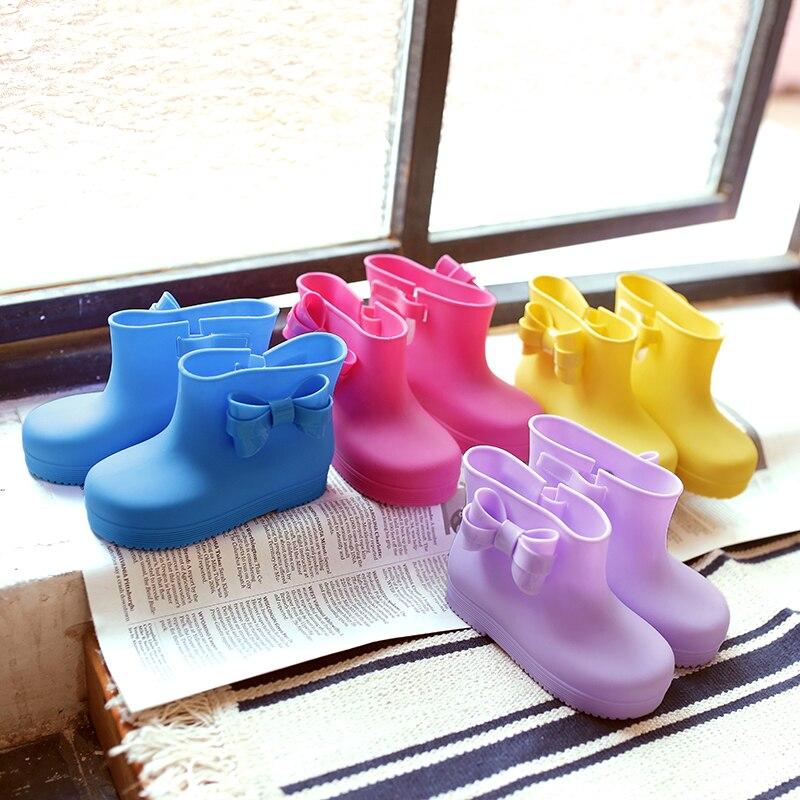 Дети дождь Обувь модная одежда для девочек Малыш дождь Сапоги и ботинки для девочек Enfants tottes Filles Детские Высокие сапоги мультфильм обувь с б...