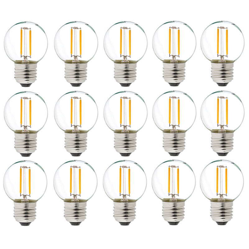 <font><b>12V</b></font> - 24V DC AC 1W <font><b>E27</b></font> <font><b>LED</b></font> COB Filament Light <font><b>Bulb</b></font> G40 Warm White 2700K <font><b>LED</b></font> Lamp Low Voltage Retro Edison <font><b>12V</b></font> <font><b>Bulbs</b></font> Replace 10W image
