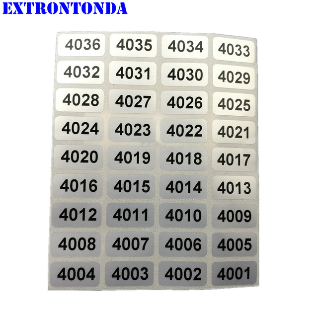 1000pcs Consecutive Number Labels From 4001 to 5000 Inventory