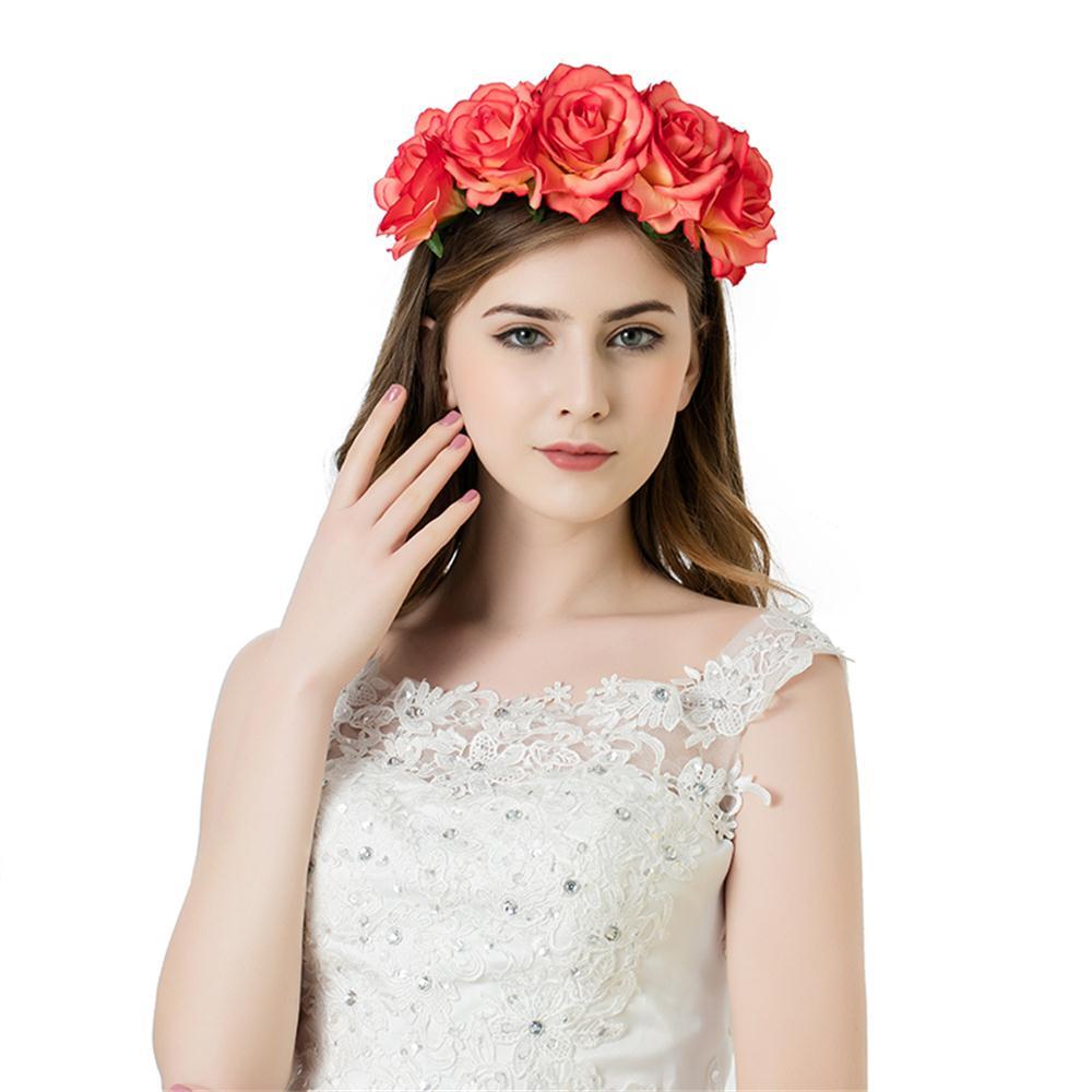 1PC Fashion Elegant Garlands Women Rose Flower Wreath Crown Headband Beach Floral Garlands Hairband Wedding Band Accessories