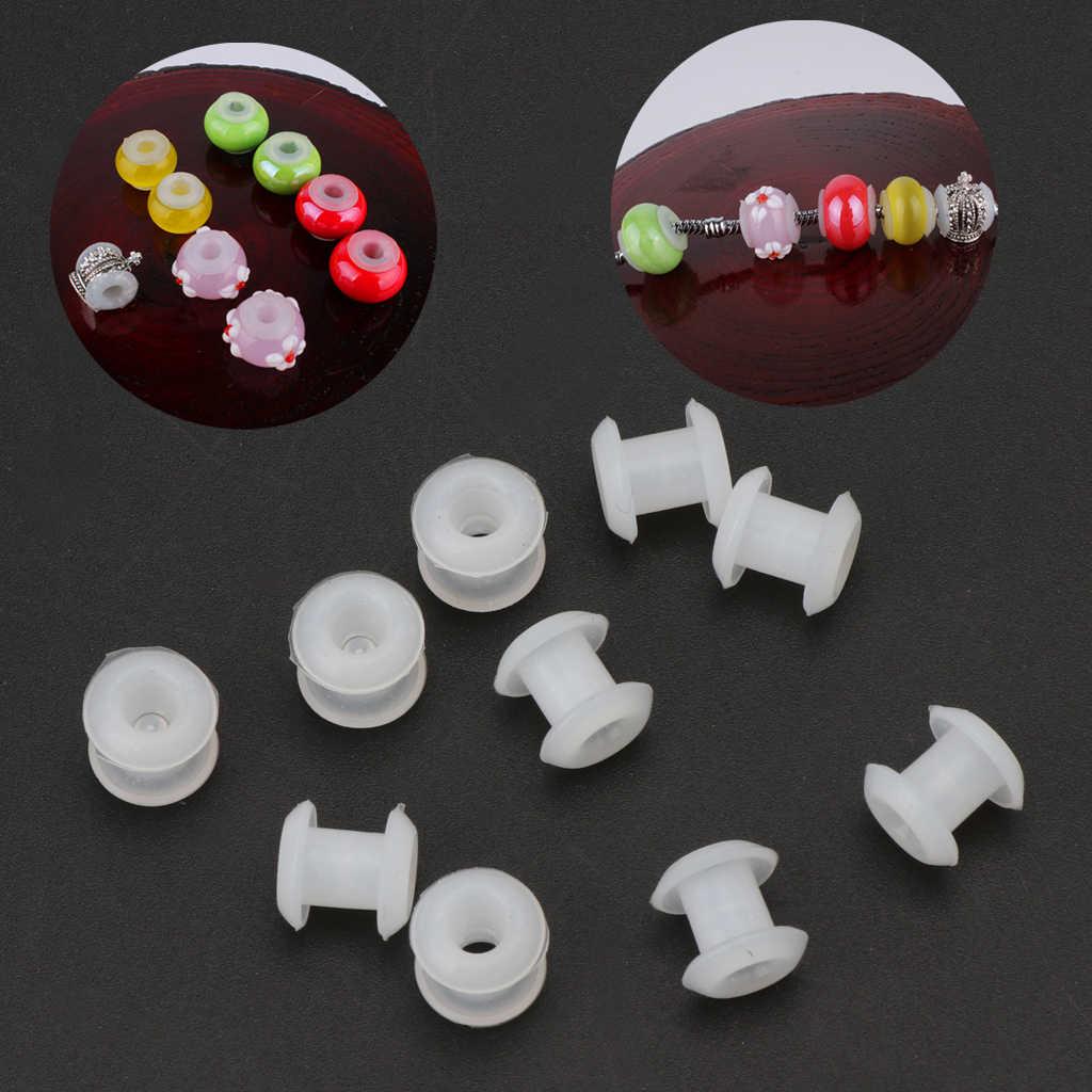 10 piezas de silicona goma tapones anillo espaciador de cuentas pulsera de joyería