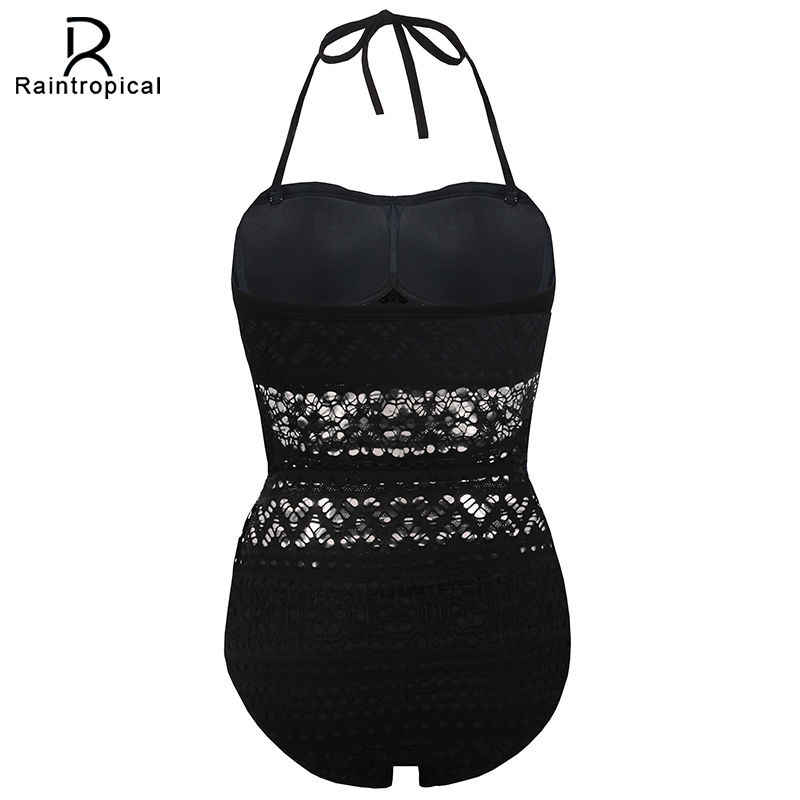 Raintropical One Piece Swimsuit Push Size Swimwear Women 2018 Sexy Beach Crochet Monokini Swimsuit Retro Bathing Suit Swim Wear 1