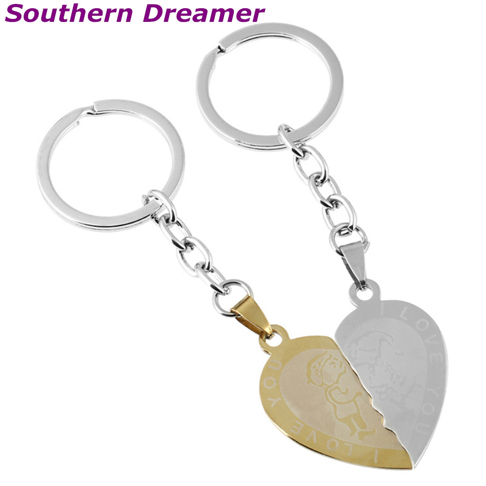 1 Pair Couple I Love You Letter Heart Shape Keychains Gold Stainless Kalung Etnik 3203 08 Steel Half Key Chains For Lovers Porte Clef Souvenirs In From Jewelry