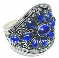 P & P Tribal Mücevherat Tibet Gümüş Mavi Boncuk MANŞET BILEZIK