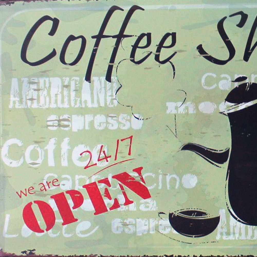 COFFEE SHOP Metal Decor Plaque Retro Poster with coffee pot and cup for workday relax in mall boutique LJ5 9 20x30cm B1 in Plaques Signs from Home Garden