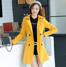 Women's autumn and winter coat jacket female fashion double-breasted wool coat ladies long sections Slim woolen coat