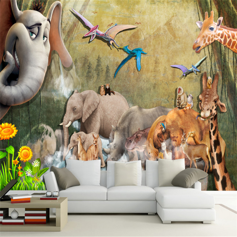 custom 3d photo wallpaper mural 3d wallpaper animal TV sofa background wall elephant giraffe background wall for kids's room