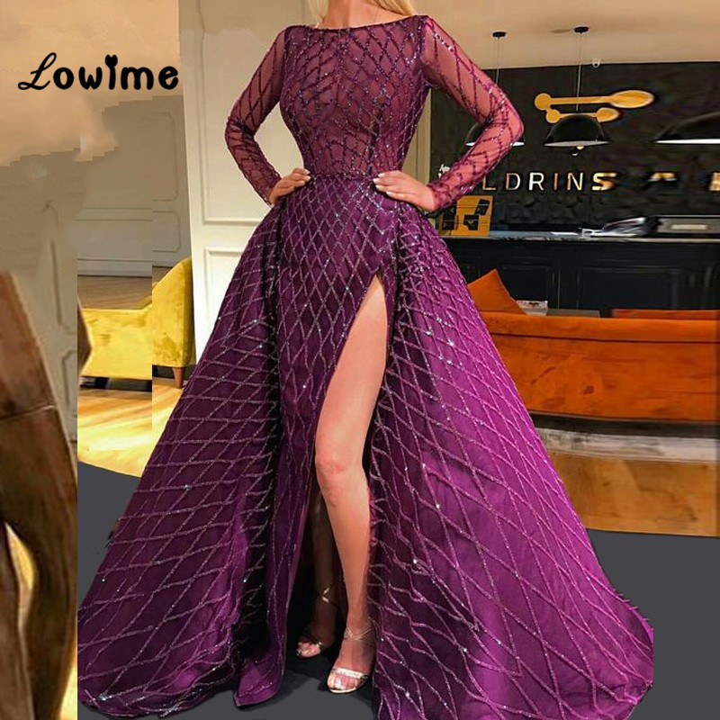 Purple Long Sleeve Evening Dresses With Detachable Train Puffy Prom Dress Party Gowns Dubai Turkish Arabic High Side Split Dress