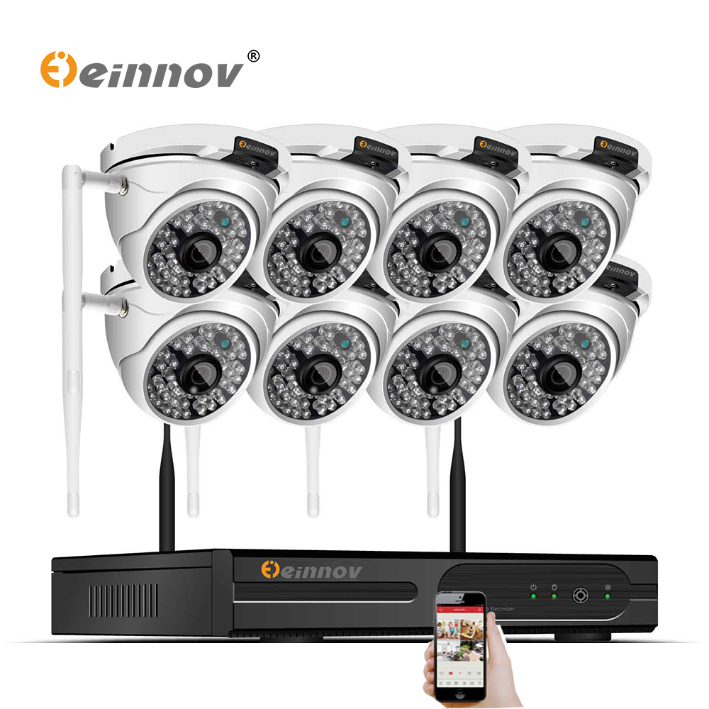 Einnov 8CH 1080P 2MP Wireless Outdoor Home Security Camera System NVR Wifi Ip Kit CCTV Set