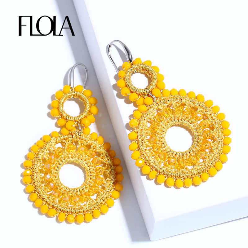 FLOLA 2019 Handmade Earrings Beads for Woman Boho Beaded Drop Earring Vintage Big Earrings Za pendientes mujer moda ersm93