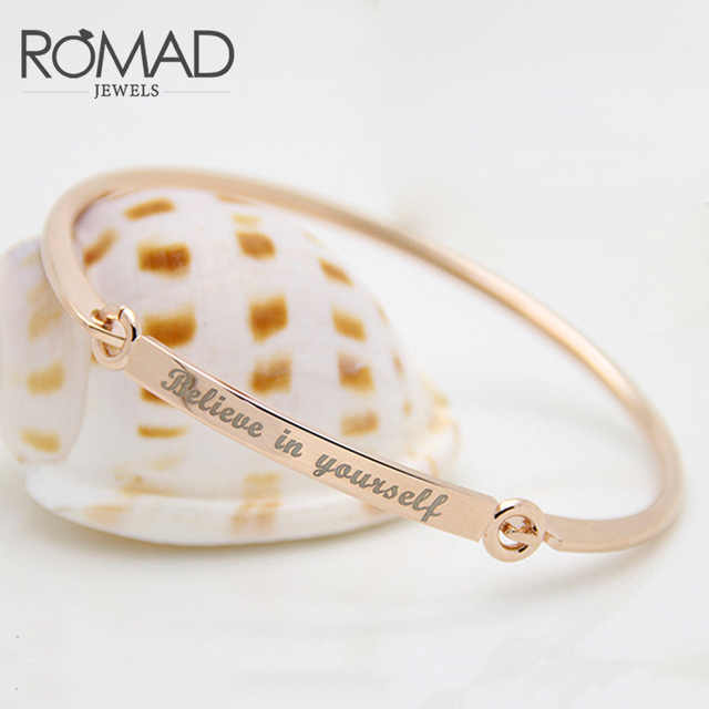 Romad Believe In Yourself Letters Bracelet Engraved Jewelry Personalized Initials Bracelets Love Bangles For