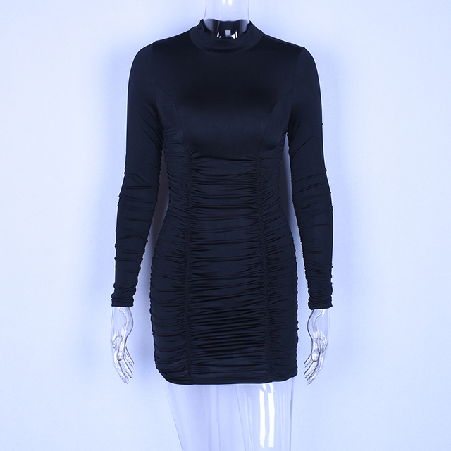 high neck short long sleeved satin dress 6