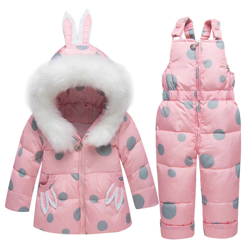 Theshy Children Kids Girls Boys Rabbit Ears Hooded Keep Warm Wadded Jacket Clothes Coats for Baby Girl
