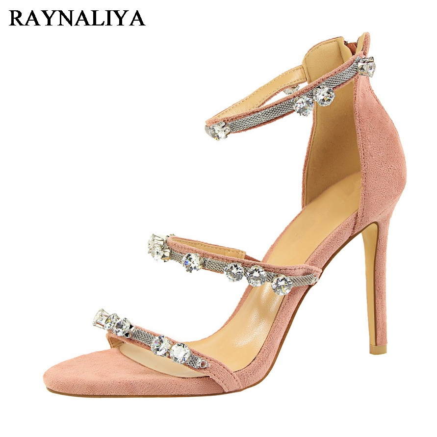 Elegant Designer Shoes Women Luxury Brand Rhinestone Shoes Flock Red Pink High Heels Sandals Wedding Shoes Women Pumps DS-A0101 new pink red rhinestone diamond bride s shoes super high heels crystal bowl wedding shoes elegant sandals female pumps feminina