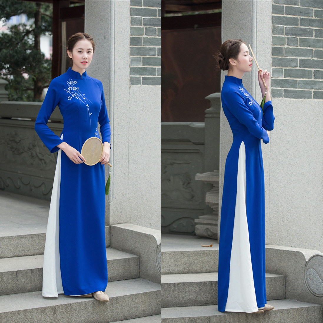 Vietnam Ao Dai Patchwork Tight Dress for Woman Chinese Traditional Costumes Qipao Cheongsams Flower Female Oriental