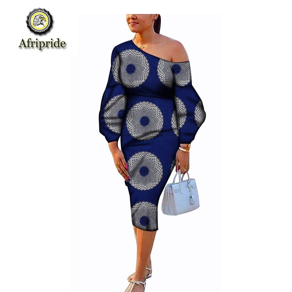 2019 アフリカドレス春 & 秋の新スタイル純粋な綿ミドル手首スリーブアンカラプリントバザンリッシュ dashiki AFRIPRIDE S1825042  グループ上の レディース衣服 からの ドレス の中 1