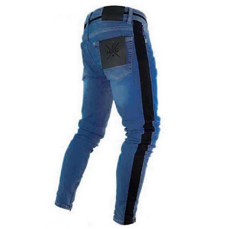 Oeak мужские джинсы 2019 новые сексуальные рваные растягивающиеся джинсовые брюки мужские прямые повседневные полосатые уличные узкие брюки