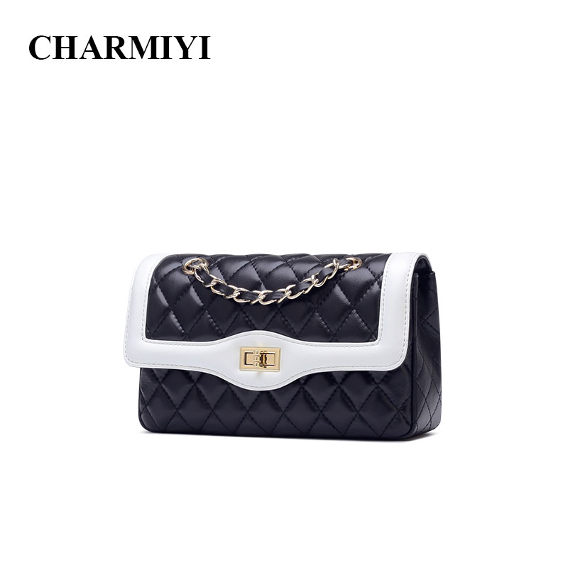 CHARMIYI Designer Genuine Leather Chain Women Crossbody Bags Famous Brand Small Shoulder Bag Ladies Handbag Bolsas Feminina lkprbd 2018 chain bag ladies handbag brand handbag authentic small crossbody bag purse designer v bolsas women