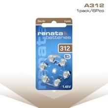 цена 6PCS Hearing Aid Batteries A312 312A ZA312 312 PR41 S312 Button Cell Battery for Hearing Aid Battery 1.45V Zinc Air 312 A312