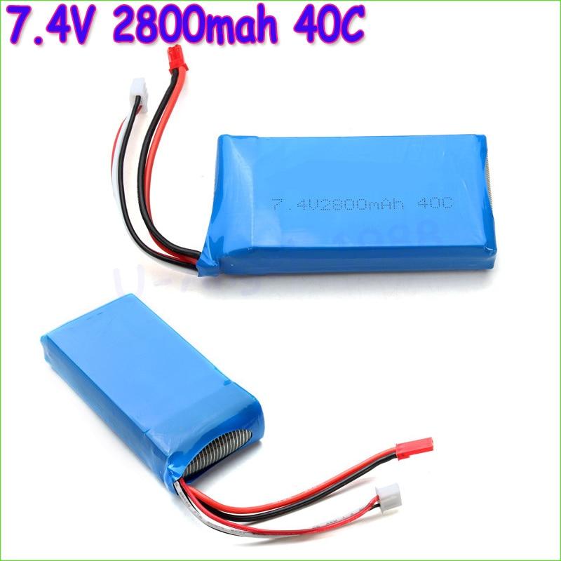 1pcs Lipo Battery 7.4V 2800mah 40C 2S lipo battery For WLToys V262 V333 V323 V666 battery for RC Helicopter Quadcopter wholesale