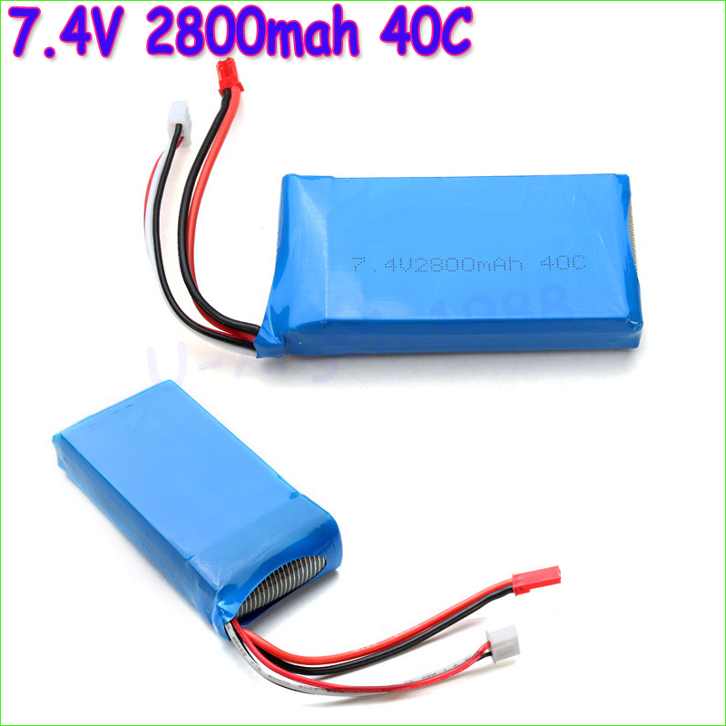 1pcs <font><b>Lipo</b></font> Battery 7.4V <font><b>2800mah</b></font> 40C <font><b>2S</b></font> <font><b>lipo</b></font> battery For WLToys V262 V333 V323 V666 battery for RC Helicopter Quadcopter wholesale image