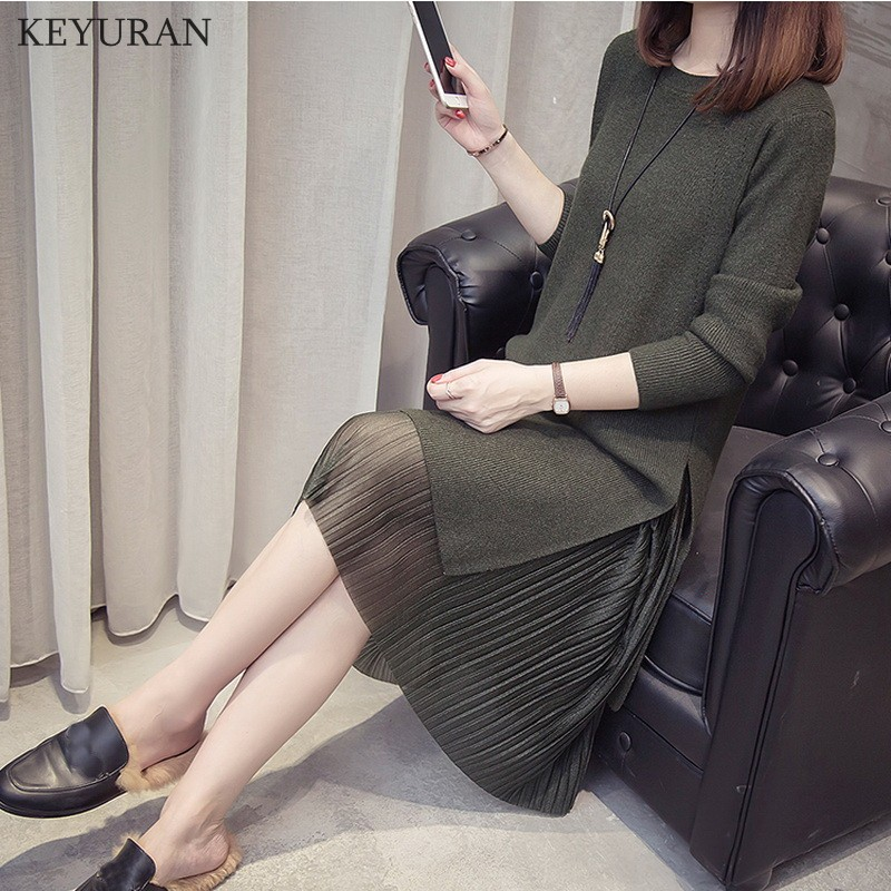 Plus Size 4XL 2019 Autumn New Women Sweater Midi Dress Sets Casual Elegant Long Sleeve Split Knitted Dresses Pleated Skirt Suit