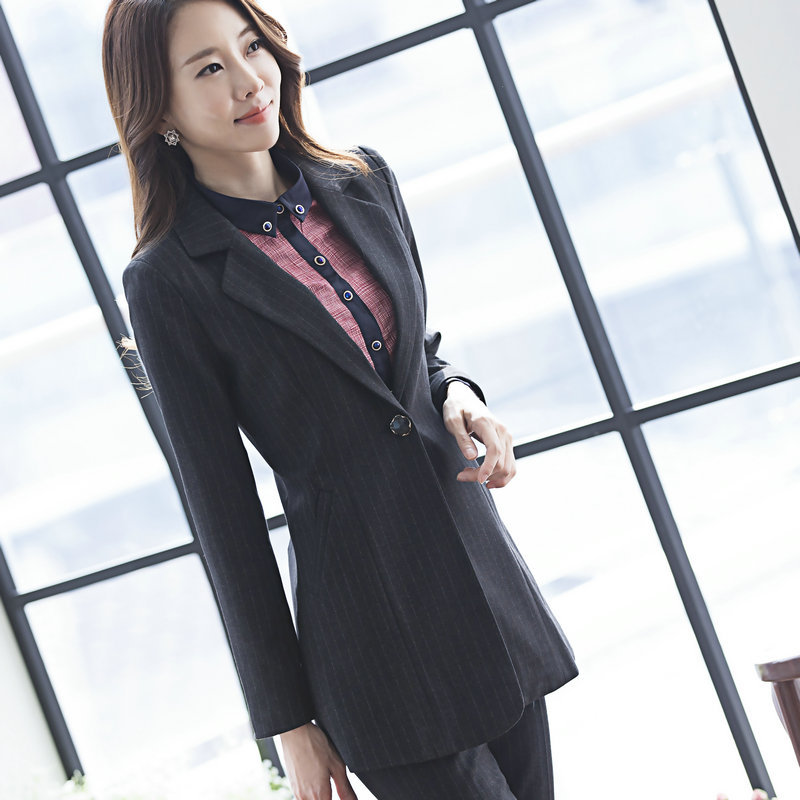 2019 Leisure Long-sleeve Small Suit Women Work Single Button Striped Pants Suit
