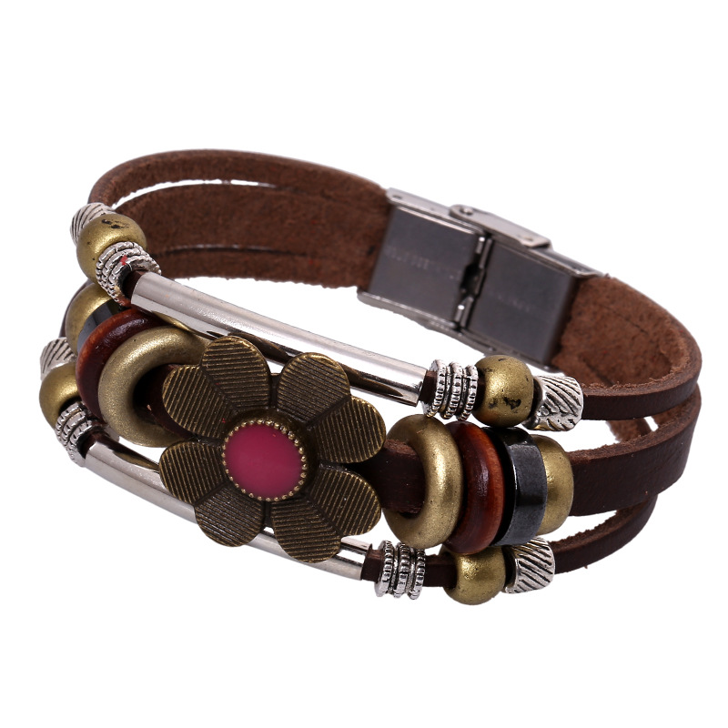 Top Quality Cow Leather Bracelet Men Leather Braid Bracelet With Stainless Steel Buckle Clasp pulseiras masculina Charm Bangles