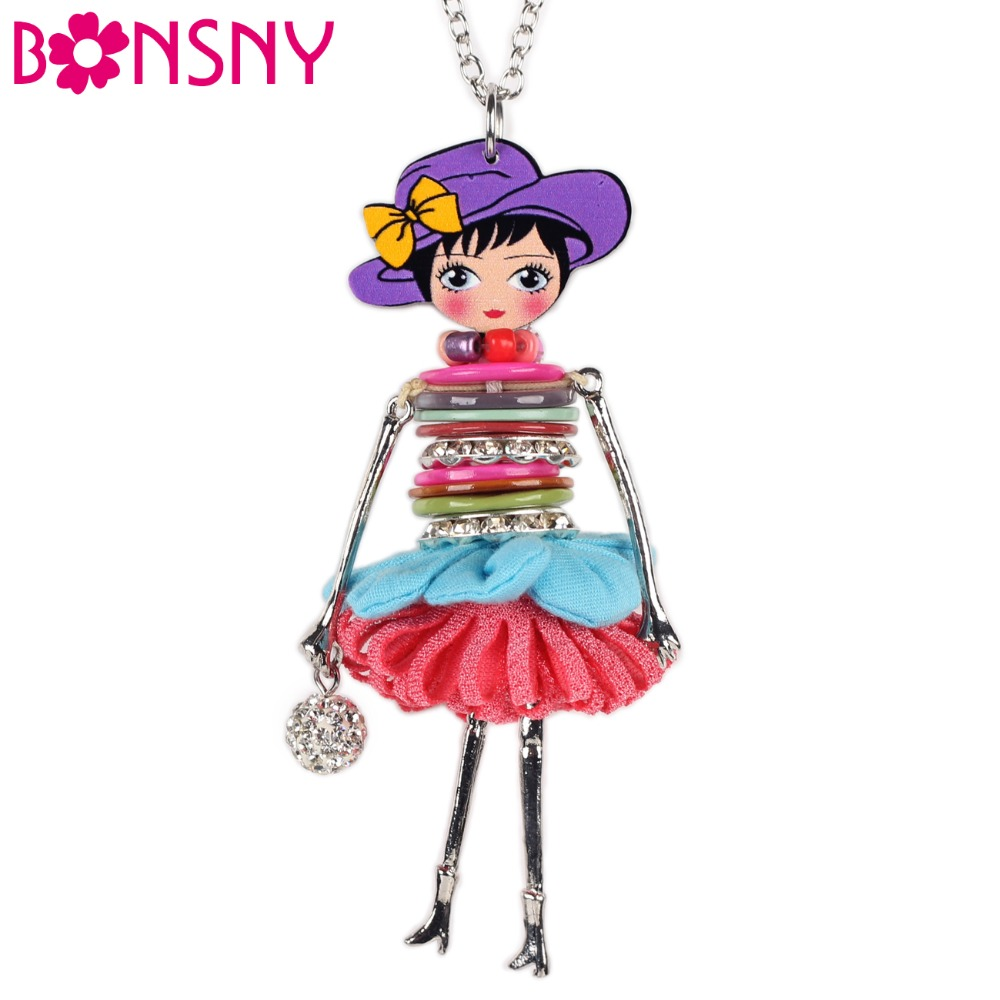 Bonsnyシェルクリスタル人形ネックレスドレス手作りフレンチ人形ペンダント2016ニュース合金女の子女性花