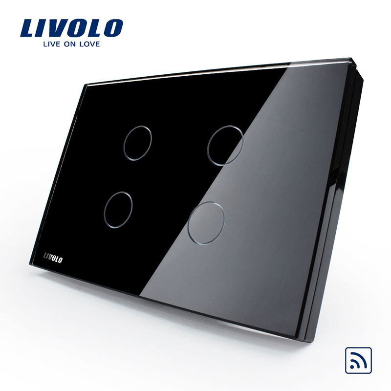 Livolo Touch Remote Sensor Wall Light Switch with LED Indicator,US Standard Wireless Switch, VL-C304R-82,Crystal Glass Panel huangxing us standard touch switch 2gang1way white gold pearl crystal glass panel wall light switch with led indicator mg us01