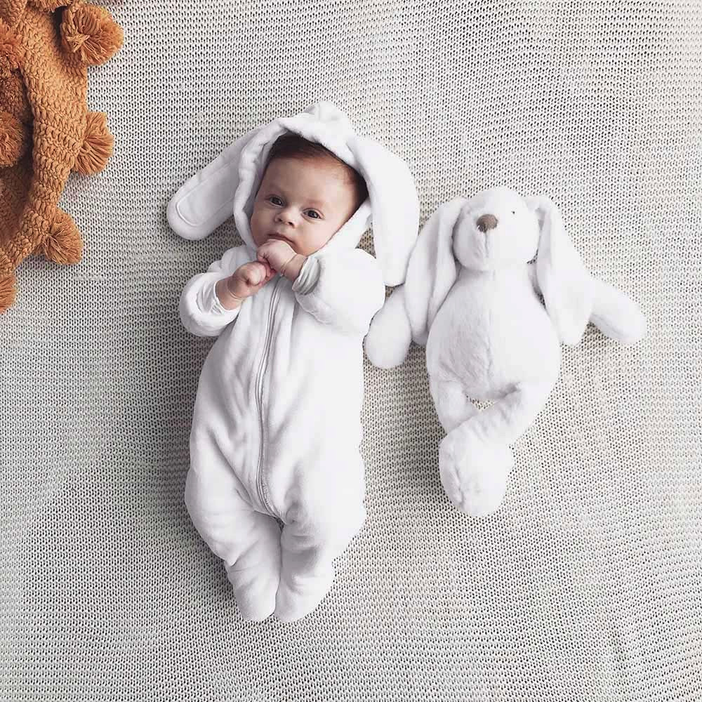 Newborn Toddler Baby Boys Girls Cartoon Bunny Ears Warm Hooded   Romper   Jumpsuit new born baby girl clothes baby costume