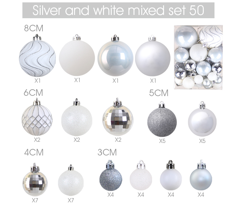 10 inhoo Plastic Christmas Balls For Home Christmas Tree Decorations White Baubles Xmas Ornaments Pendant Balls 2019 New Year Gifts