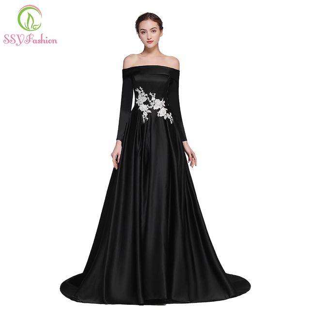 e33a7e0823 SSYFashion New Simple Black Satin Prom Dress Boat Neck Long Sleeved Sweep  Train Lace Appliques Evening Party Gown Robe De Soiree