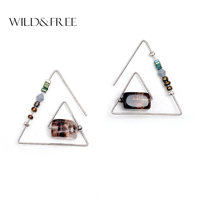 WILD & FREE Women Vintage Natural Stone Drop Earrings Zink Alloy Gold Silverpläterade Öppna Triangle Dangle Earrings Smycken Gift