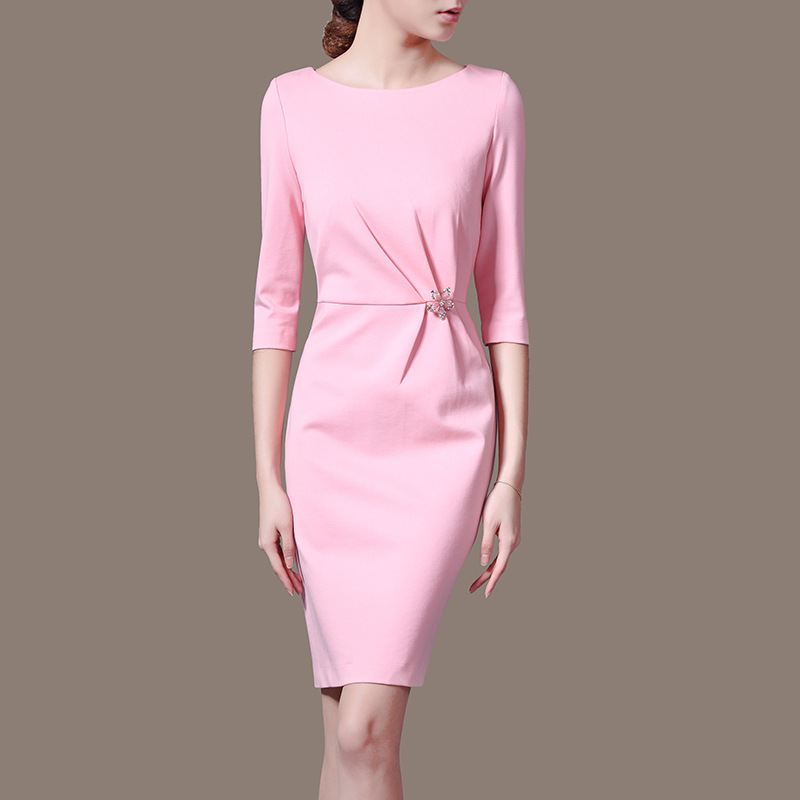 Manufacturers Supply Directly S 3XLWomen s O Neck Pencil Dress Solid Three Quarter Dress OL Dress