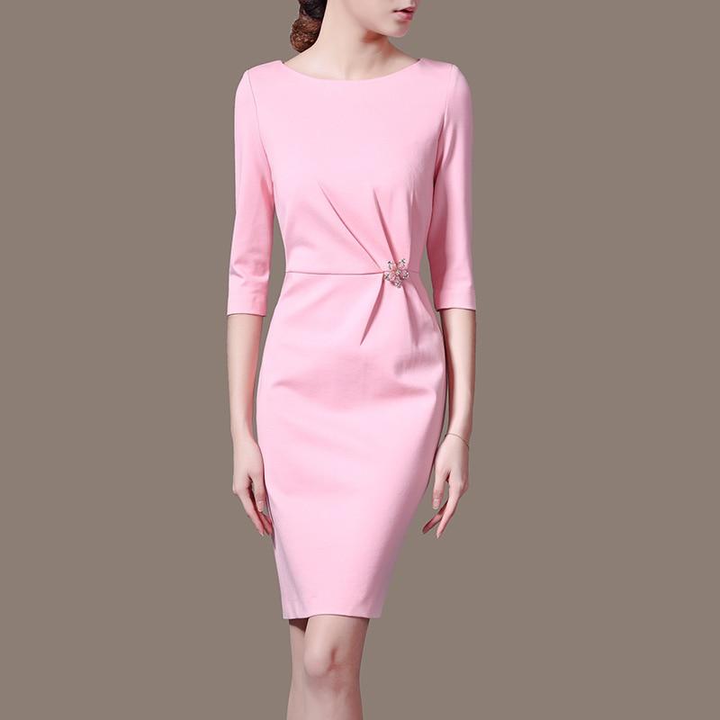 Les fabricants fournissent directement la robe crayon à col rond de S-3XLWomen