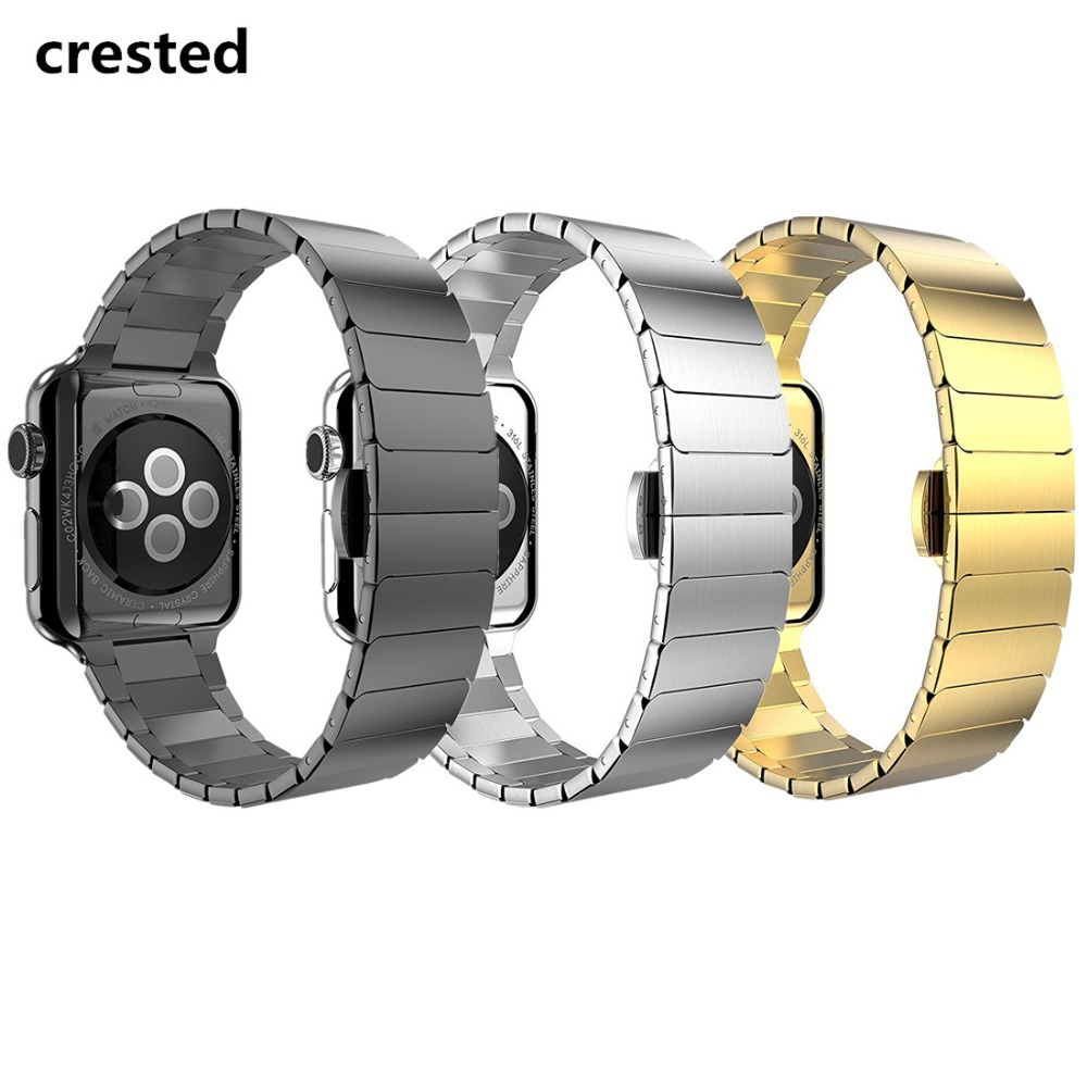 CRESTED butterfly loop band For Apple watch 3 42mm 38mm iwatch 3/2/1 wrist band stainless steel Link bracelet replacement strap crested nylon band strap for apple watch band 3 42mm 38mm survival rope wrist bracelet watch strap for apple iwatch 3 2 1 black