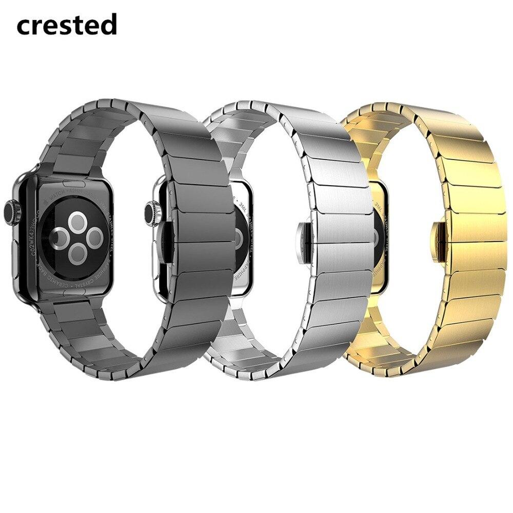 CRESTED schmetterling schleife strap Für Apple uhr band 3 42mm 38mm iwatch 3/2/1 handgelenk bands edelstahl Link armband armband