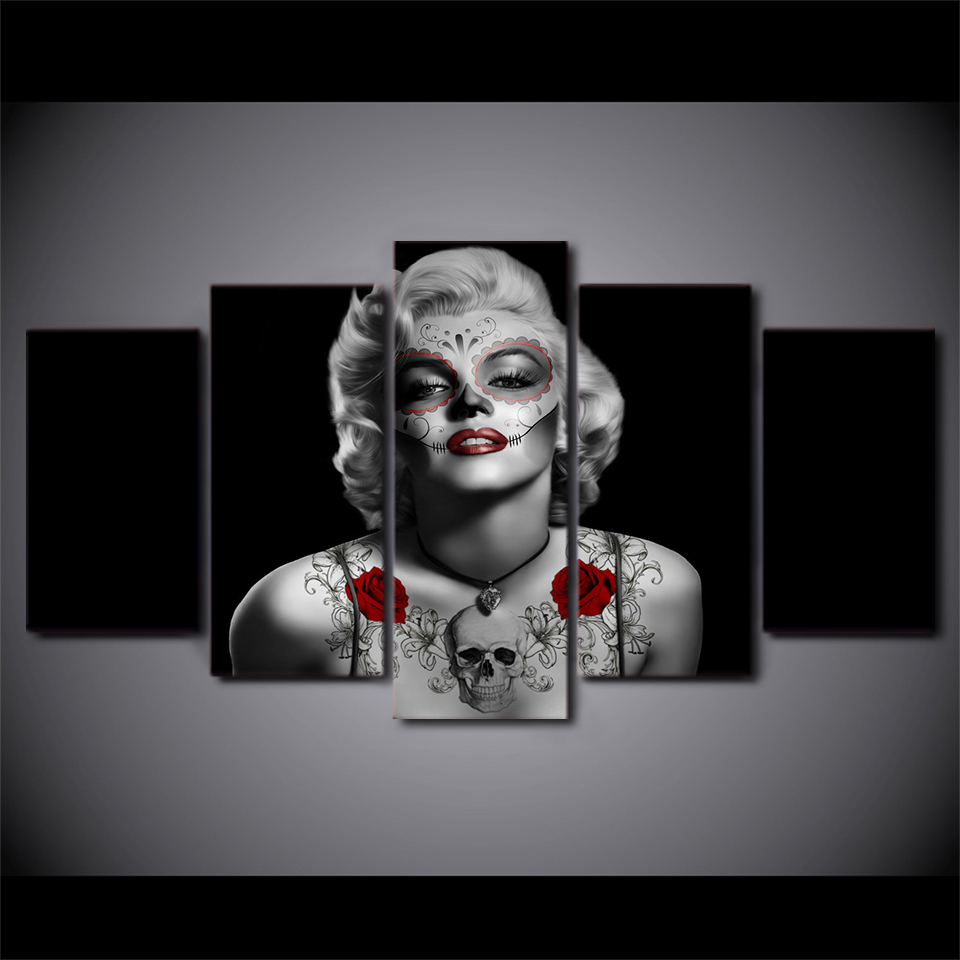 5 Piece Canvas Paintings Day Of The Dead Marilyn Monroe Living Room Home Decor Wall Art Print Canvas Art title=