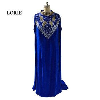 7c951800238 LORIE вечернее платье для мусульманских женщин Арабский женский формальный  Королевский синие платья на выпускной с высоким