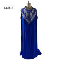 LORIE Muslim Evening dress Arabic Women Formal Royal Blue Prom dresses High Neck Beaded Cap Sleeve Rhinestones Dubai Kaftan 2017