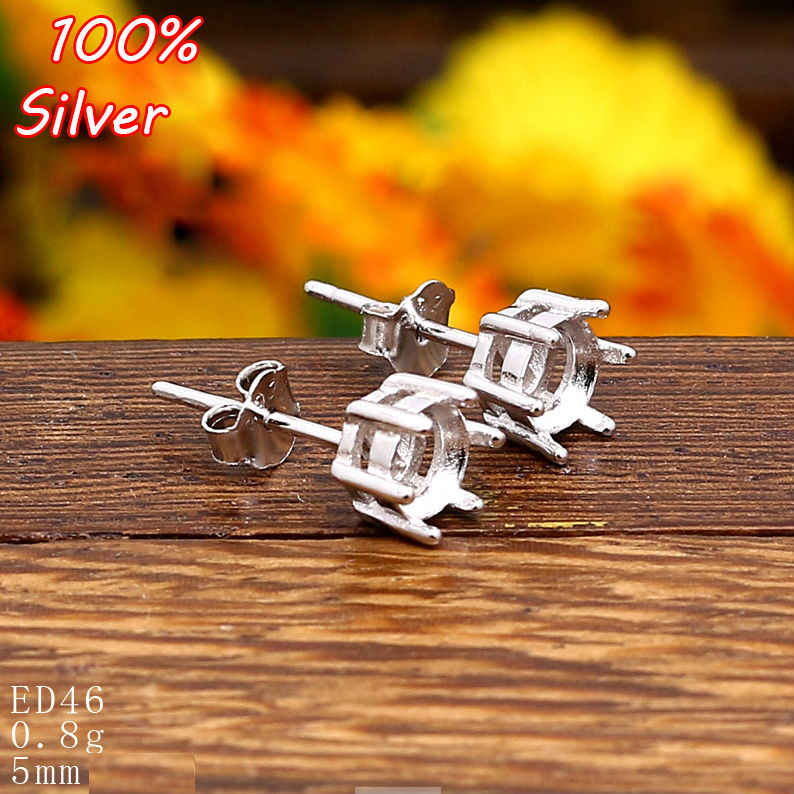 100% 925 Sterling Silver Stud Earrings Blank Claw Fit 5mm Platinum Silver Base Tray for Diy Jewelry  Earrings