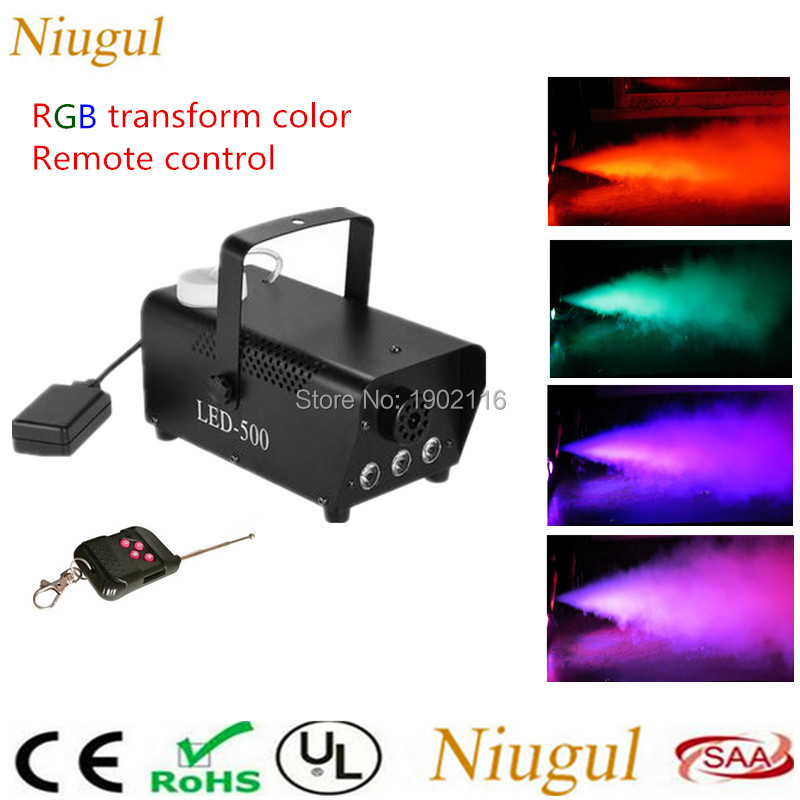 Niugul Wireless LED Smoke Machine 500W With LED Color Lights(Red, Blue, Green) Remote Control Fog Machine For Party DJ Equipment professional fog machine 400w mini smoke machine with wireless remote for wedding effects event party