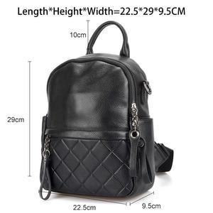 Image 3 - Zency 100% cuir véritable Vintage femmes sac à dos élégant noir quotidien vacances sac à dos décontracté voyage sacs fille cartable blanc