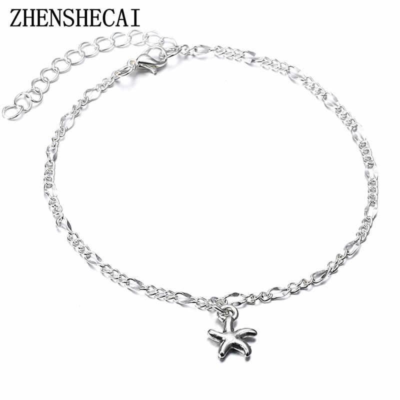 Wielowarstwowa wisiorek w kształcie gwiazdy kostki łańcuszek na kostkę nowa letnia plaża noga bransoletka charm srebrny kolor obrączki biżuteria darmowa wysyłka ns72