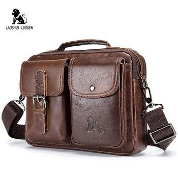 a9581b728f95 LAOSHIZI LUOSEN Натуральная кожа Мужская сумка на плечо винтажные мужские  сумки-мессенджеры мужские деловые сумки через плечо Handtasche
