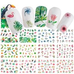 Mixed 12 Nagel Designs Wasser Transfer Aufkleber Nail art DIY Tattoo Slider Flamingo Blume Feder Polnischen Maniküre Set CHBN865-876